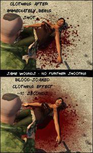 Изменения следов крови, синяков,  реалистичный рукопашный бой