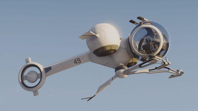 Bubbleship из Oblivion, футуристичный самолет