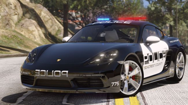 Porsche 718 Cayman S полиция из  Hot Pursuit